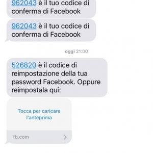 Screenshoot dell'SMS truffa di Facebook della polizia postale